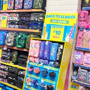 Smiggle shop shelves filled with colourful school supplies