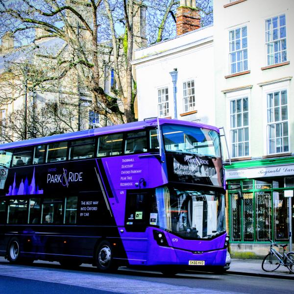 A purple park and ride bus in Oxford