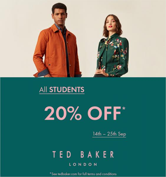 Students can scoop 20% off at Ted Baker for a limited time